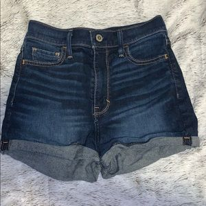 High waisted dark wash shorts